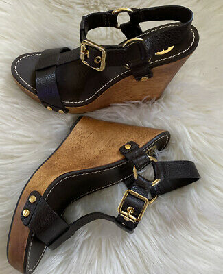TORY BURCH Platform Wedge  Leather Ankle Strap Shoes Size 8 Women's