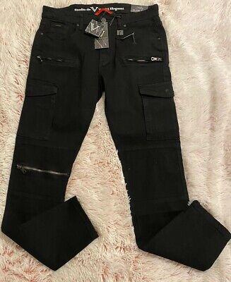 Men's Versace Studio De Vestiti  Eleganti Slim Fit Cargo Jeans 30 x 32 Black