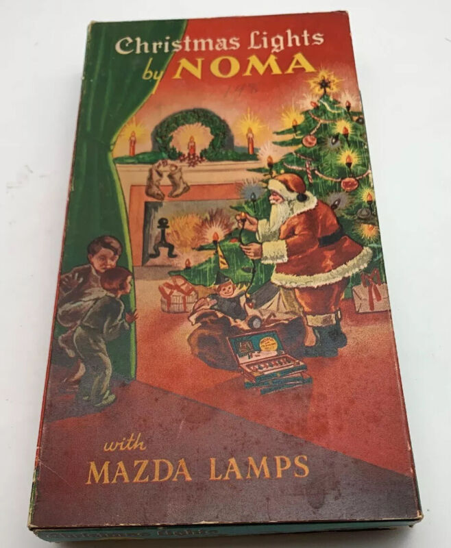 1936 7 NOMA End To End CHRISTMAS TREE Lights WORKING SET W/BOX RARE Red Beads