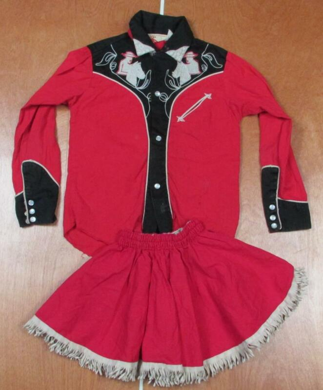 Vintage 1960s J Bar T California Cowgirl Outfit Girls Western Costume Top/Skirt