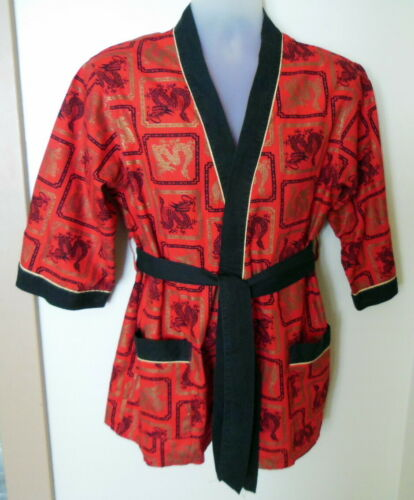 vintage Towncraft plus  Dragon cotton Short Robe Smoking Jacket Size M 38-40