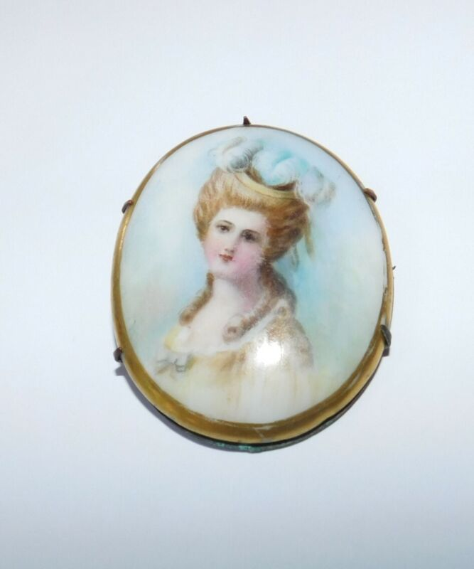 Antique Victorian Cameo Portrait Hand Painted Woman Brooch Brass Pin C Clasp