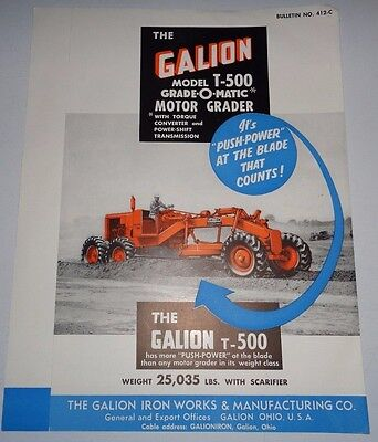 Galion T-500 Motor Road Grader Sales Brochure Literature 1959 Original