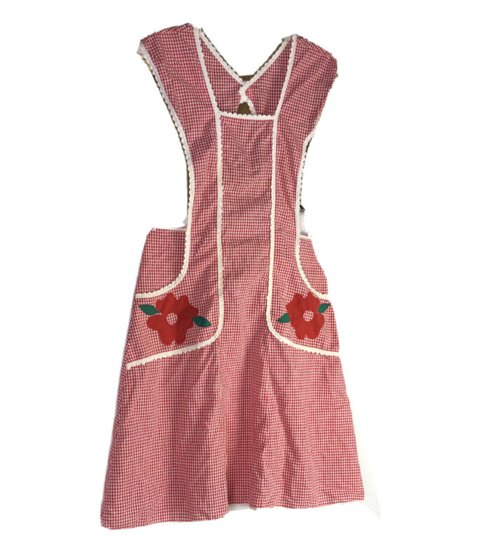 Vintage Nona Lou Full Red Gingham Floral Apron Overhead EUC