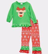 Girls fair isle reindeer t shirt leggings Christmas outfit ...