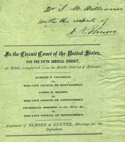 1860 montgomery alabama, bonds for Plank Roads lawsuit by Elmore & Gunter signed