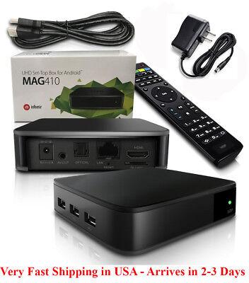 Infomir Mag 410 4K w/ built-In Wi-Fi, Bluetooth, 2GB RAM Extremely Fast! US Plug