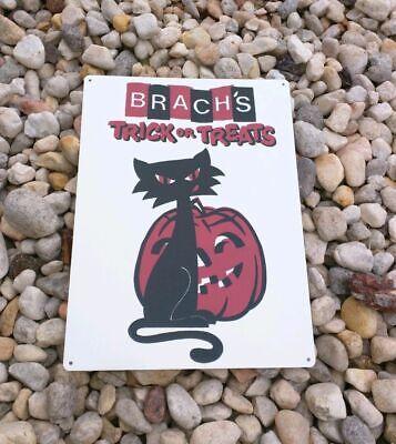 Brach's Black Cat JOL Halloween candy Trick or Treat Metal Sign 9x12