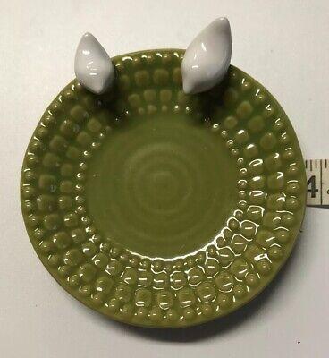 "Oh Gussie! Trinket Dish Beautiful Green w/ 2 Little White Birds.  3.75"" D x 1"" H"