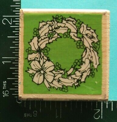 CHRISTMAS HOLLY LEAVES and BERRIES WREATH Rubber Stamp by VAP Scrap Bow Holly Leaves Bow