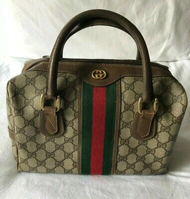 Vintage Gucci Brown green red stripe Boston Bag