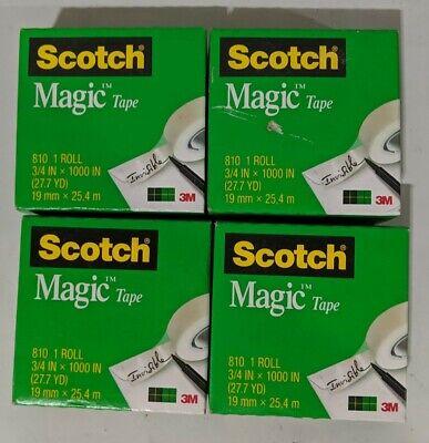 Lot Of 4 Scotch Magic Tape Refill 34 X 1000 Clear - New