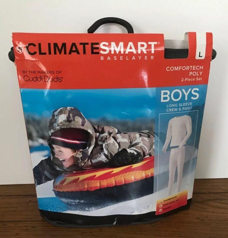 XS ClimateSmart Base Layer Boys Long Sleeve Crew & Pant  2 Piece Dark Grey