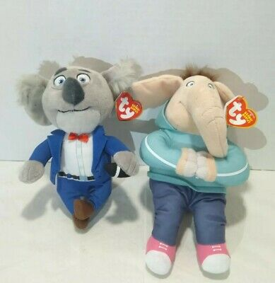 Sing Beanie Babies Lot of 2 Buster Meena Plush Hug-able Figures Koala Elephant