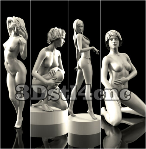 4 3D STL Models Nude Womans for CNC Router Carving Machine Artcam aspire
