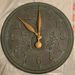 Whitehall Indoor Outdoor Copper Style Pineapple Wall Clock Battery Operated