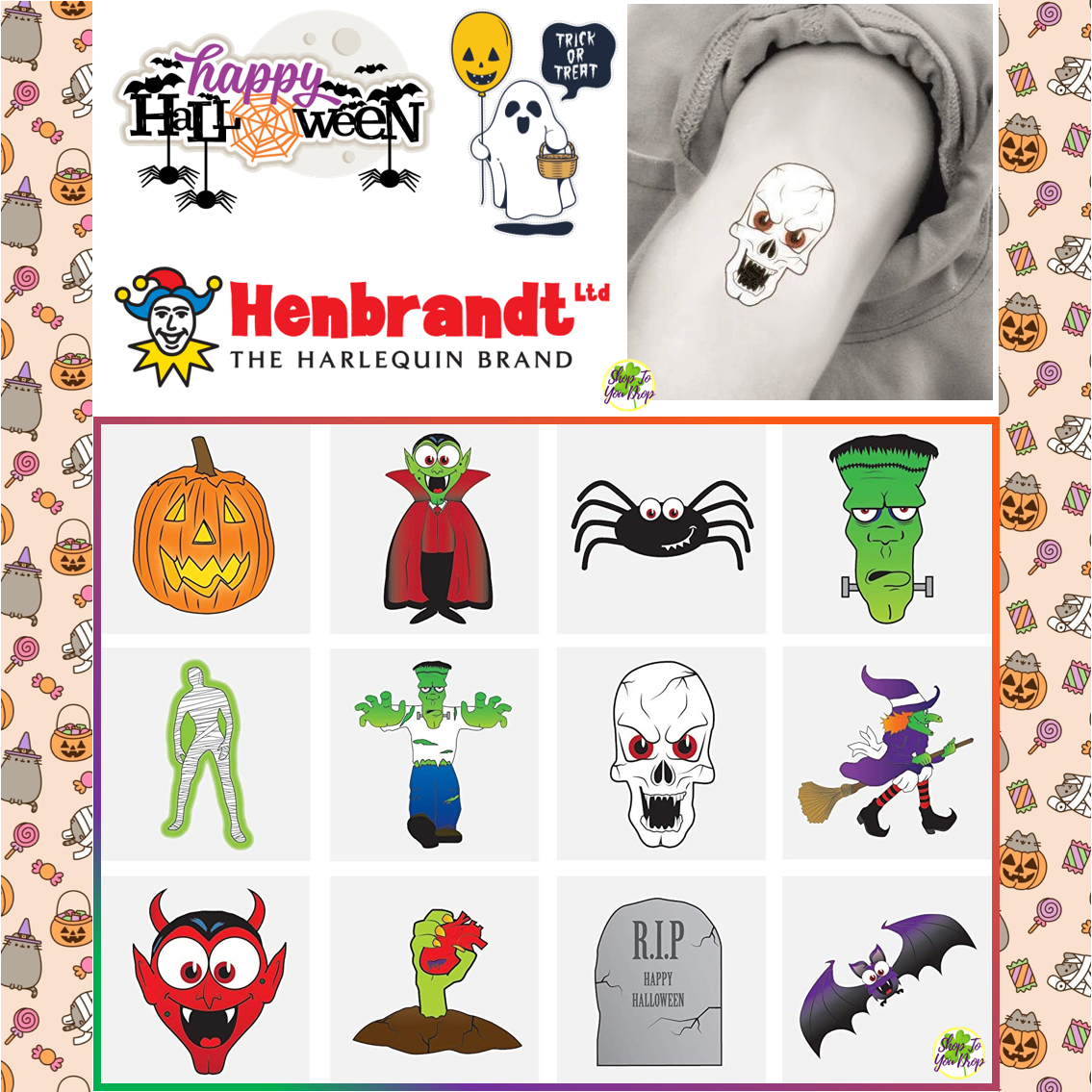 Toy Loot//Party Bag Fillers Childrens//Kids 72 Foodie Faces Temporary Tattoos