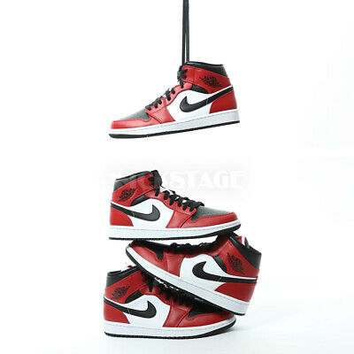 Nike Mens Air Jordan 1 Mid Chicago Toe Black Gym Red White Bred AJ1 554724-069