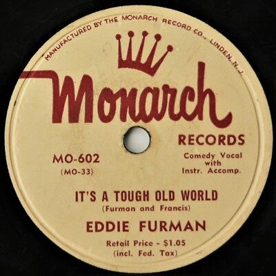 Eddie Furman   Its A Tough Old World   The Hallelujah Song  10  78Rpm 1953  Vg