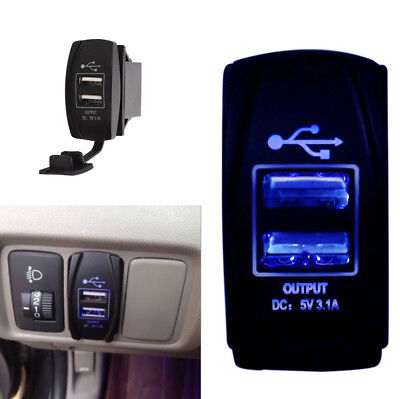 Idea Auto Supplies (Blue LED 12/24V 3.1A Car Dual USB Phone Charger Port Socket Kit for Power)