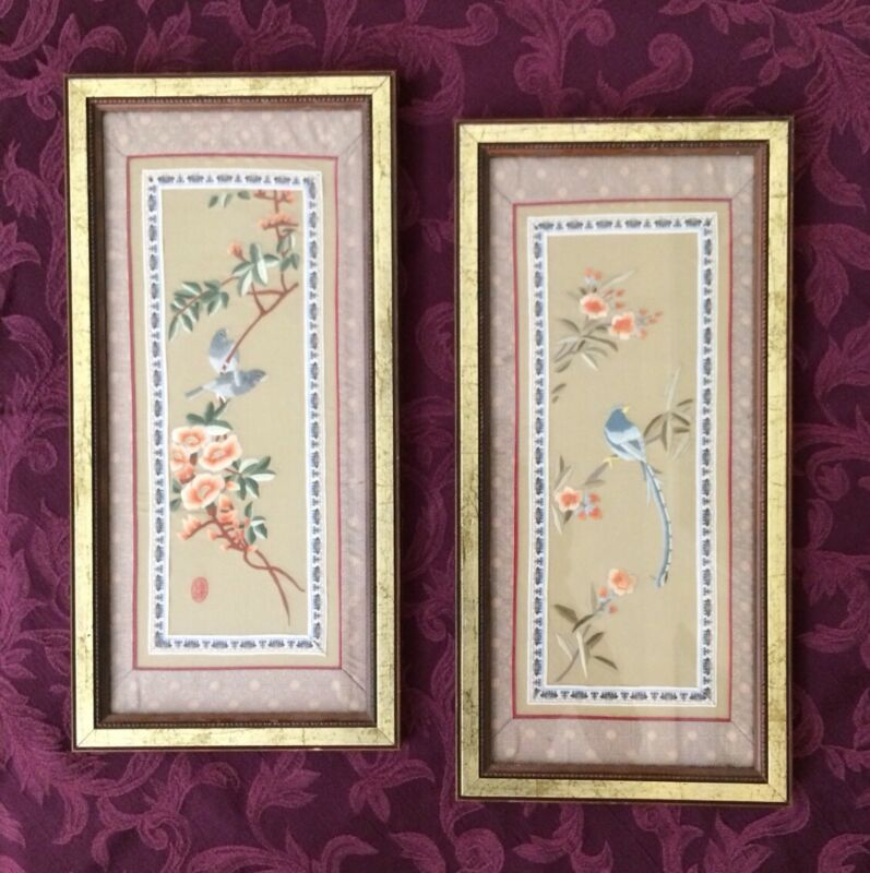 Vintage Lovely Asian Embroidered Silk Framed Wall Art ~ Birds & Flowers 2pc Set