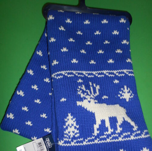 """RALPH LAUREN KIDS REINDEER SCARF NORDIC CABLE KNIT REVERSIBLE 54""""X 8"""" BLUE WHITE"""