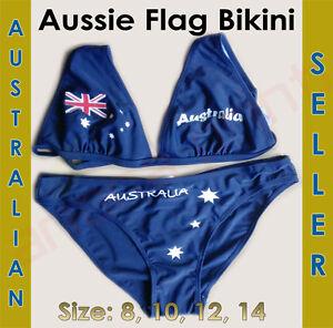 Australian Flag Bikini with 'Australia 'written on it! Size 10