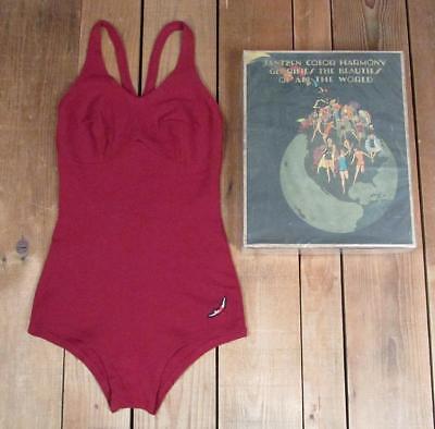 Vintage 1920s Jahre Jantzen Rot Wolle Badeanzug Original Verpackt Antik Strand