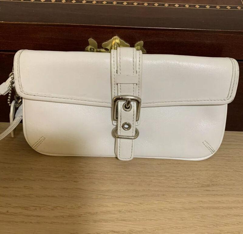 Coach  Small White Wristlet Leather Wallet