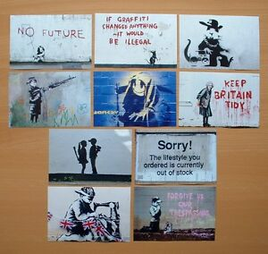 SET OF TEN BANKSY POSTCARD SIZE PHOTO  PRINTS.