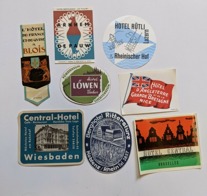 Vintage Hotel LUGGAGE LABELS lot foreign France Belgium Amsterdam Europe NOS