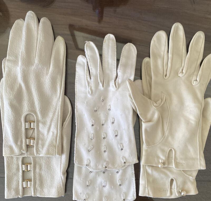 Three Pairs Of Vintage White Cream Gloves Hansen 7.5