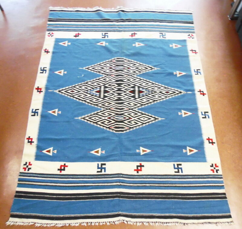 Vintage Mexican Native Chimayo Texcoco Whirling Log Wool Rug 6