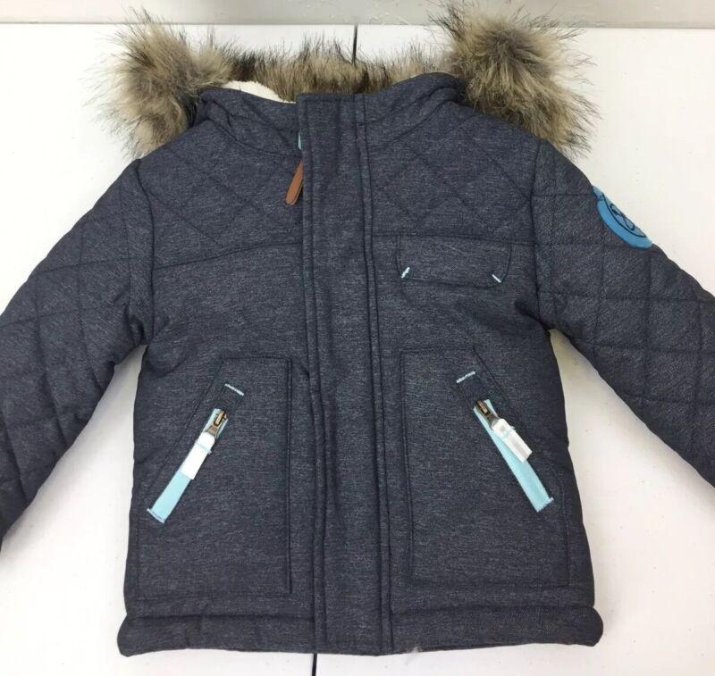 Cat & Jack Gray&Blue Toddler Girls/Boys Lined Hooded Jacket Coat 12 Months Mint