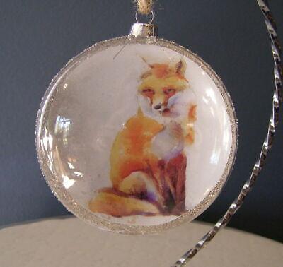 Unique! Watercolor FOX Hunt Equestrian Horse Christmas Glass Glitter Ornament ()