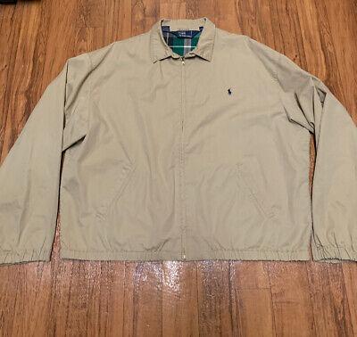 Vintage Polo Ralph Lauren Harrington Beige Tan Zip Up Plaid Jacket Mens XL