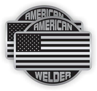 Pair - American Welder Welding Helmet Stickers Hard Hat Decals Labels Usa