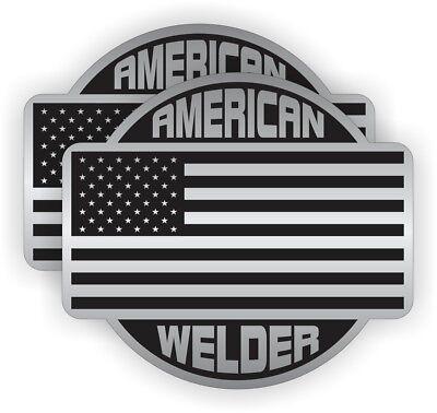 2 American Welder Hard Hat Stickers Labels Decals Welding Motorcycle Helmet