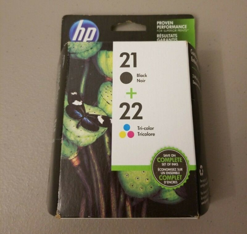 NEW HP ink cartridges 21 & 22 ~NO BOX ~ STILL SEALED IN HP FACTORY PACKAGING!