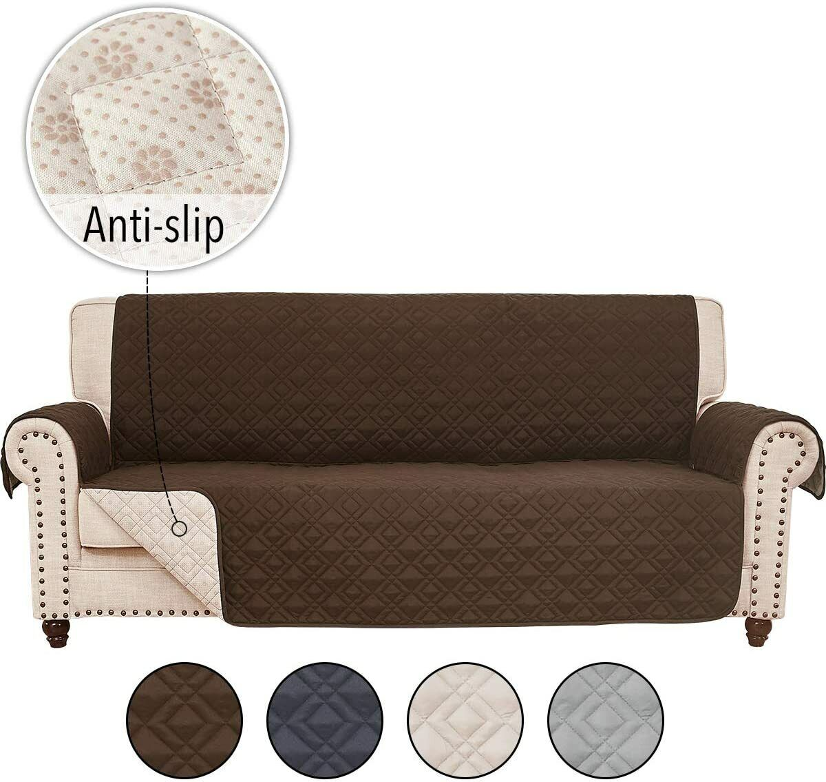 Anti Slip Sofa Couch Slipcover Cover For Leather Furniture Protector Pet Kid Mat Ebay