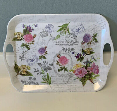 New Melamine English Flower Garden Small Serving Tray w/Handles White Spring ~D