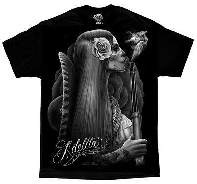 DGA David Gonzales Art Adelita Sugar Skull Shot Guns Tattoos Cowgirl T - Cowgirl Tattoos