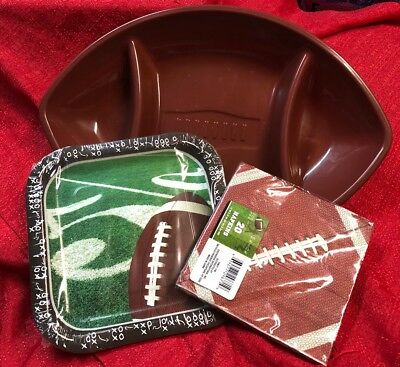 "Super Bowl Supplies (Super Bowl Football Tailgate Party Supplies Chip & Dip Bowl 20 Napkins 9"")"