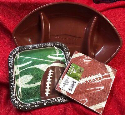 "Super Bowl Football Tailgate Party Supplies Chip & Dip Bowl 20 Napkins 9"" Plates ()"