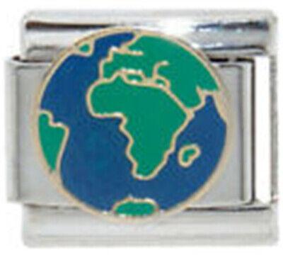 EARTH GLOBE VIEW OCEANS Enamel Italian 9mm Charm OC159 Fits Nomination Classic Earth Italian Charm