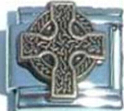 - CROSS CELTIC IRISH RELIGIOUS Enamel Italian Charm 9mm Link- 1x RE082 Single Link