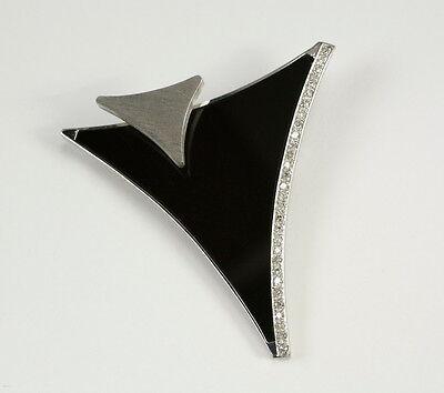 Schicke Design Brosche / Nadel mit Onix und Diamant 0,29 Carat, 585 Weissgold