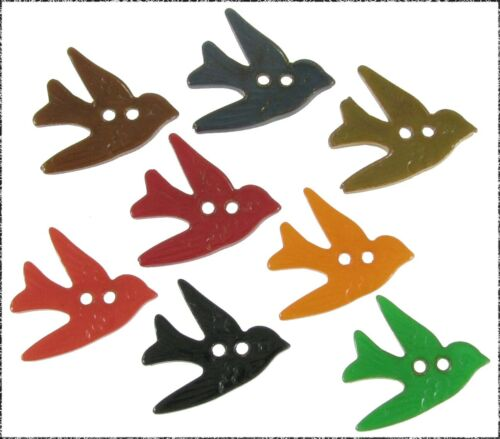 8 Vintage Press Molded Realistic Bakelite Bird Buttons, Assorted Colors
