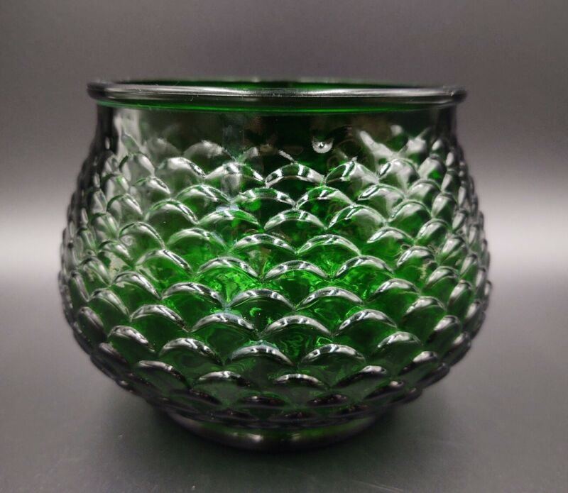 VINTAGE Emerald Green Glass Bowl Vase FISH SCALE Pattern E.O.Brody Co. CLEVELAND
