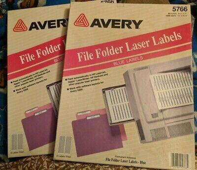 2 Avery Blue File Folder Labels 5766 60 Labelssheet 100 Sheets 3000 Labels
